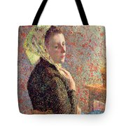 Woman Wearing A Green Headscarf Tote Bag by Camille Pissarro