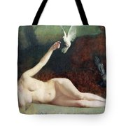 Woman With Pigeons Tote Bag by Ernst Philippe Zacharie