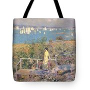 Yachts In Gloucester Harbor Tote Bag by Childe Hassam