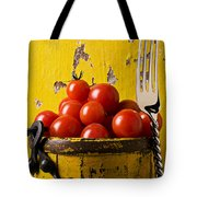 Yellow Bucket With Tomatoes Tote Bag by Garry Gay