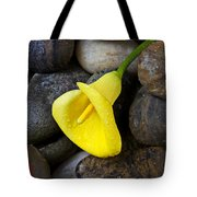 Yellow Calla Lily On Rocks Tote Bag by Garry Gay