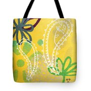 Yellow Paisley Garden Tote Bag by Linda Woods
