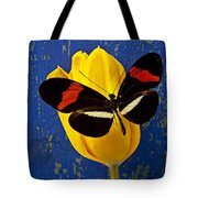 Yellow Tulip With Orange And Black Butterfly Tote Bag by Garry Gay