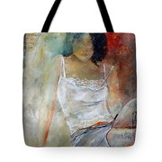 Young Girl Sitting Tote Bag by Pol Ledent