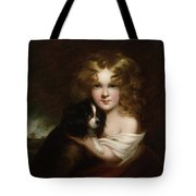 Young Girl With A Dog Tote Bag by Margaret Sarah Carpenter