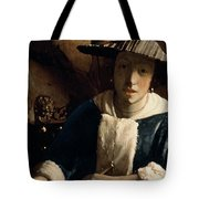 Young Girl With A Flute Tote Bag by Jan Vermeer