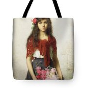 Young Girl With Blossoms Tote Bag by Alexei Alexevich Harlamoff