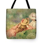 Young Girls on the River Bank Tote Bag by Pierre Auguste Renoir