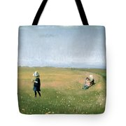 Young Girls Picking Flowers In A Meadow Tote Bag by Michael Peter Ancher