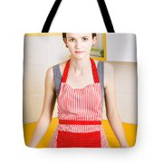 Young House Wife On Yellow Kitchen Background Tote Bag by Jorgo Photography - Wall Art Gallery