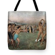 Young Spartans Exercising Tote Bag by Edgar Degas