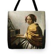 Young Woman At A Virginal Tote Bag by Jan Vermeer