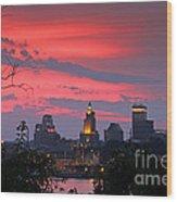4th Of July Sunset Providence Ri Wood Print by Butch Lombardi