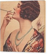 1920s Usa Women Cigarettes Holders Wood Print by The Advertising Archives