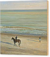 Beach Dialogue Dunwich Wood Print by Timothy  Easton