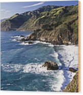 Big Sur At Big Creek Wood Print by George Oze