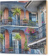 0255 Balconies - New Orleans Wood Print by Steve Sturgill