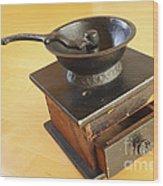 Antique Coffee Grinder Wood Print by John Van Decker