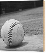 Baseball Wood Print by Kelly Hazel