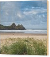 Beautiful Blue Sky Morning Landscape Over Sandy Three Cliffs Bay Wood Print by Matthew Gibson