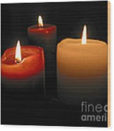 Burning Candles Wood Print by Elena Elisseeva