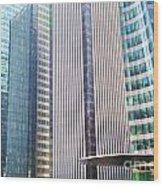 Business Skyscrapers Modern Architecture Wood Print by Michal Bednarek