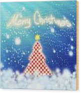 Chess Style Christmas Tree Wood Print by Atiketta Sangasaeng