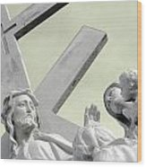 Christ On The Cross With Mourners Saint Joseph Cemetery Evansville Indiana 2006 Wood Print by John Hanou