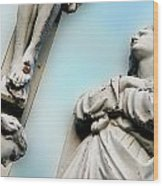 Christ On The Cross With Mourners Saint Joseph Cemetery Evansville Indiana 2008 Wood Print by John Hanou