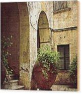 Courtyard In Capri Wood Print by Julie Palencia