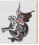 English Knight Fighting Dragon England Flag Shield Retro Wood Print by Aloysius Patrimonio