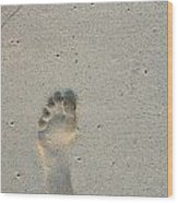 Footprint In Sand On Beach Wood Print by Sami Sarkis