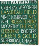 Green Bay Packers Wood Print by Jaime Friedman