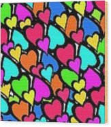 Hearts Wood Print by Louisa Knight