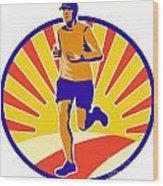 Marathon Runner Athlete Running Wood Print by Aloysius Patrimonio