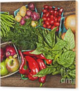Market Fruits And Vegetables Wood Print by Elena Elisseeva