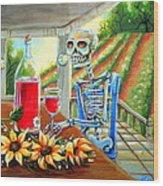 Napa Wine Skeleton Wood Print by Heather Calderon