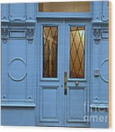 Paris Blue Door - Blue Aqua Romantic Doors Of Paris  - Parisian Doors And Architecture Wood Print by Kathy Fornal