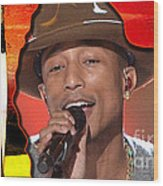 Pharrell Williams Wood Print by Marvin Blaine