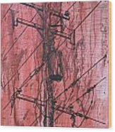 Pole With Transformer Wood Print by William Cauthern