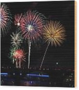 Pops On The River Fireworks Wood Print by Robert Camp