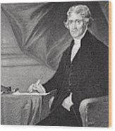 Portrait Of Thomas Jefferson Wood Print by Alonzo Chappel