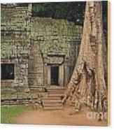 Preah Khantemple At Angkor Wat Wood Print by Sami Sarkis