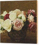 Roses Wood Print by Ignace Henri Jean Fantin-Latour