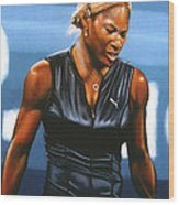 Serena Williams Wood Print by Paul Meijering