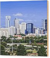Skyline Of Uptown Charlotte North Carolina Wood Print by Alex Grichenko