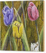 Splashy Tulips Wood Print by Vic  Mastis