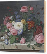 Still Life With Flowers And Birds Nest Wood Print by Severin Roesen