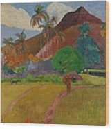 Tahitian Landscape Wood Print by Paul Gauguin