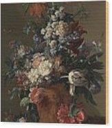 Vase Of Flowers Wood Print by Jan van Huysum
